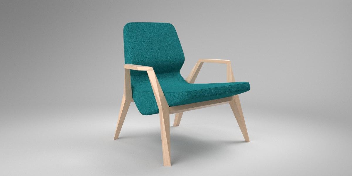 interior prostoria oblique blue 3D model