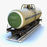 low-poly tank wagon 3D model