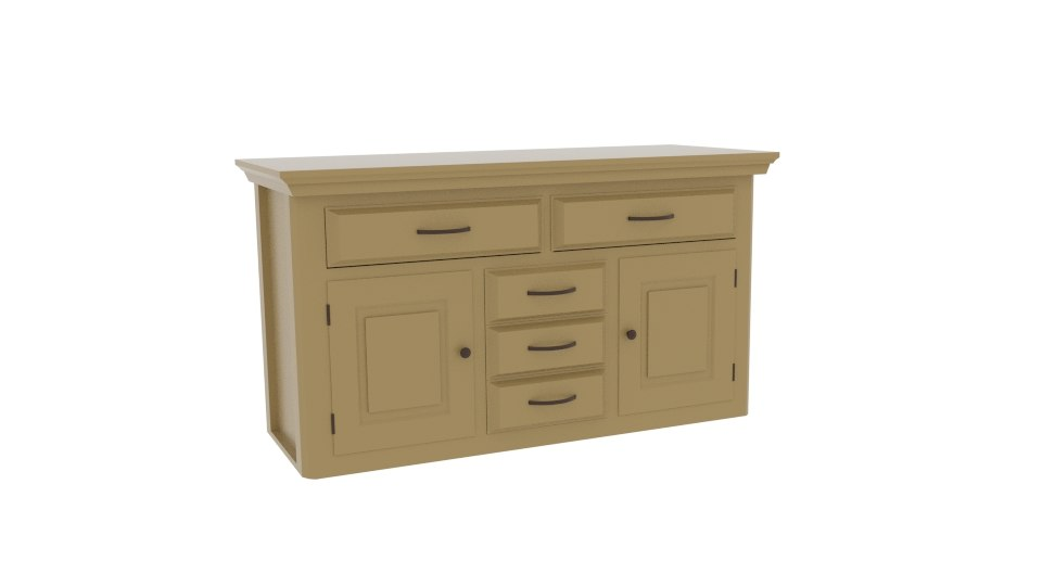 3D model canterbury oak large sideboard