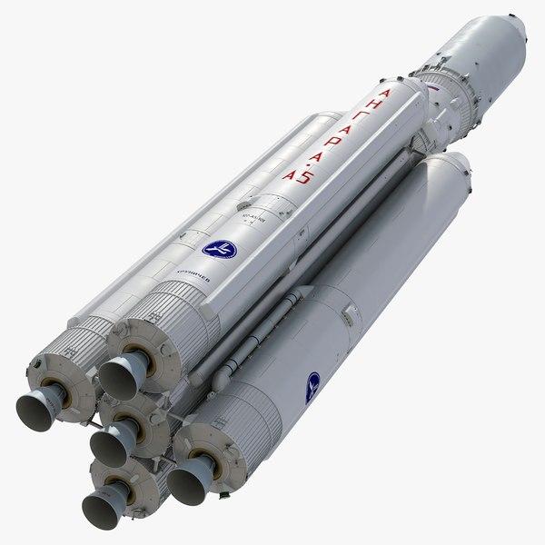 angara a5 heavy launch vehicle 3D model