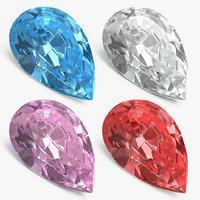 Pear Shape Diamonds 3D Models Set
