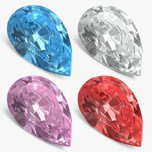 3D pear shape diamonds set