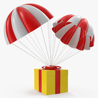3D model twin parachute gift box