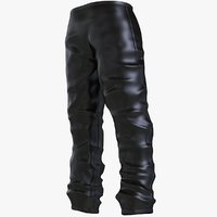 3D black carbon trouser pants model