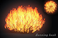 burning bush forest tree 3D model
