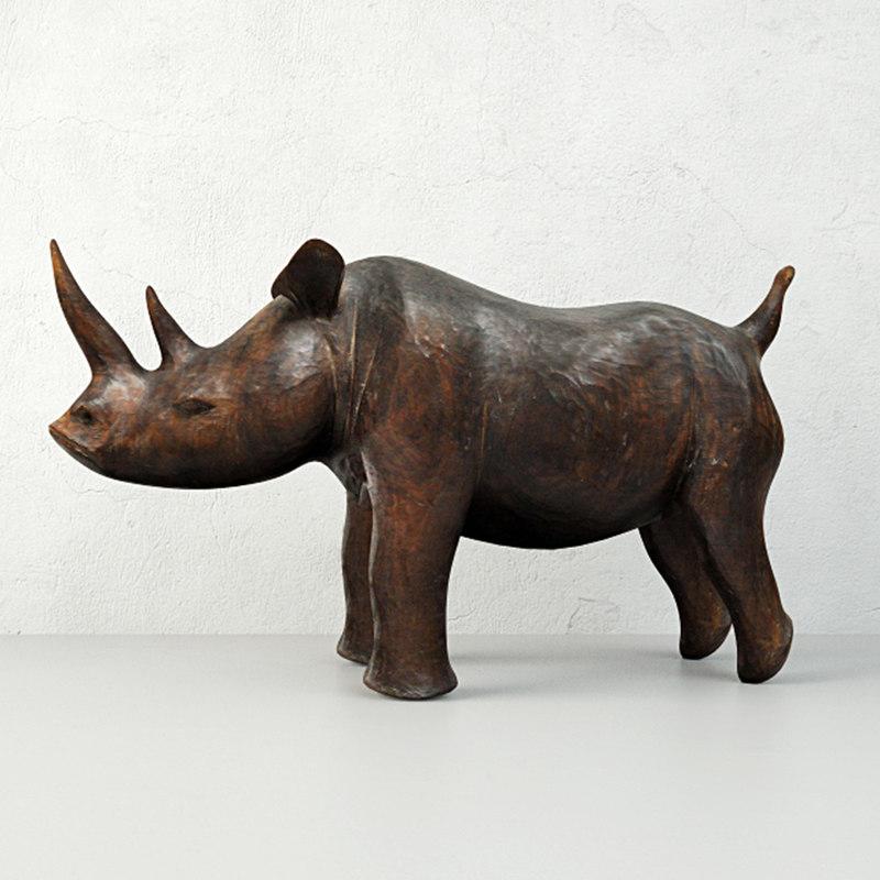 carved wood rhino 3D model