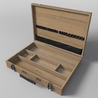 portable wooden box storage 3D
