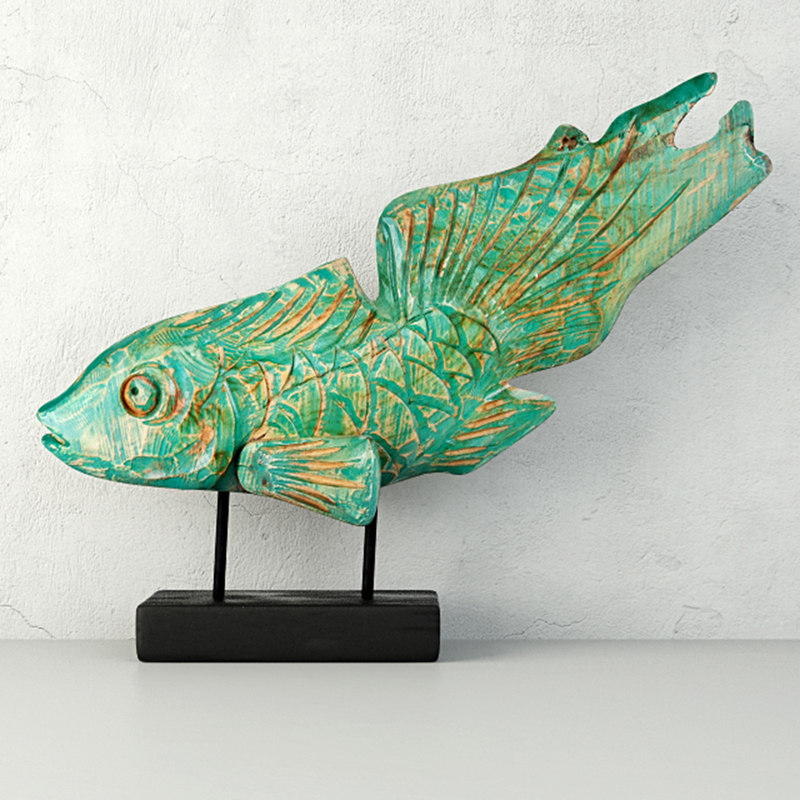 3D hand-carved driftwood fish stand