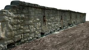 realistic stone wall 3D model