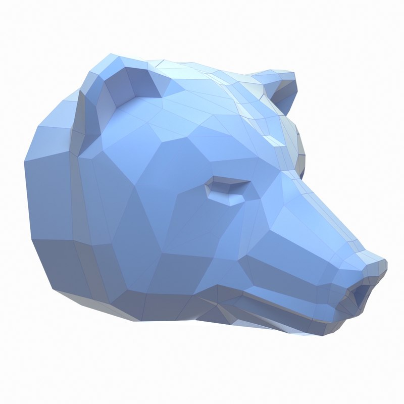 paper bear head 3D model