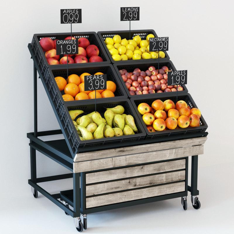 3D fruit display rack model