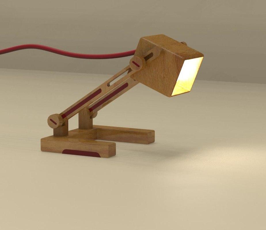 3D wood lamp model