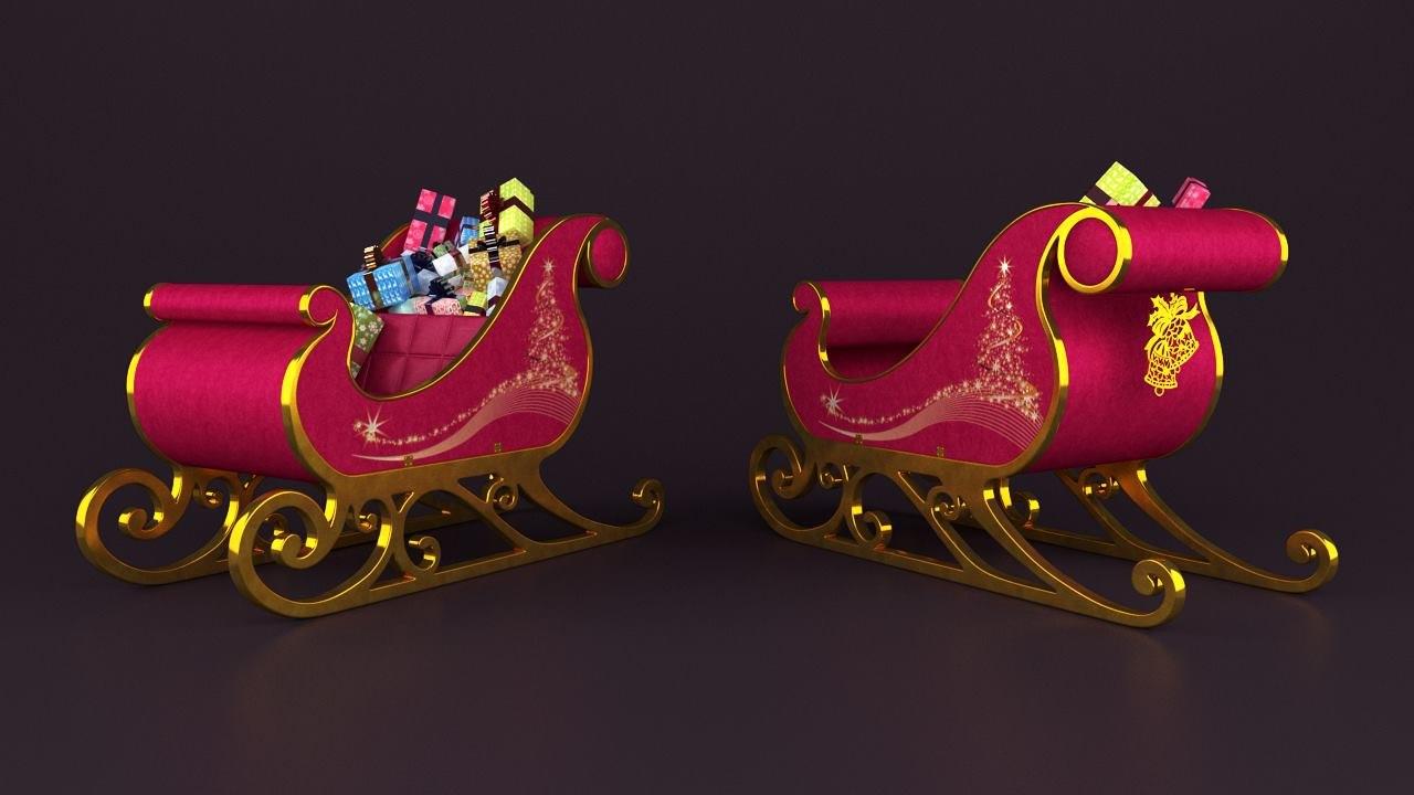 sledge santa gifts 3D model