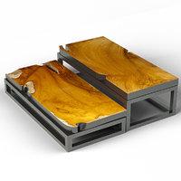 3D teak coffee tables