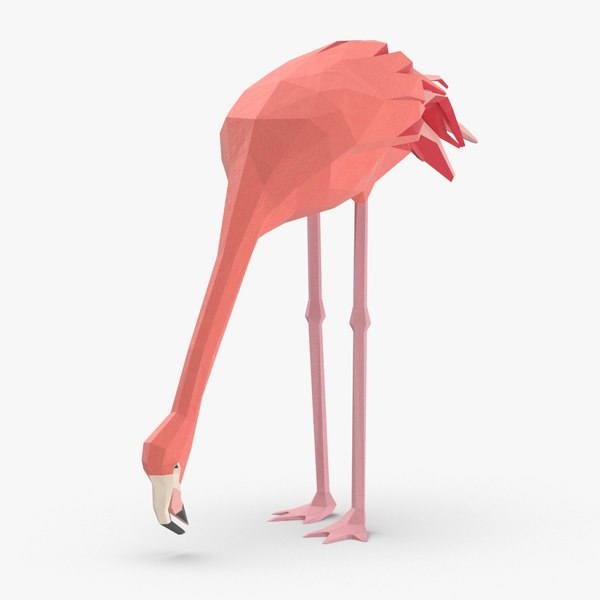 3D flamingo---eating