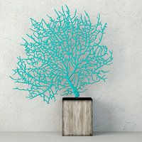 teal exotic sea fan 3D model