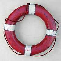 Vintage 1950s Red & White Nautical Life Preserver