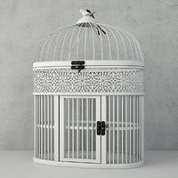 white metal bird cage 3D model