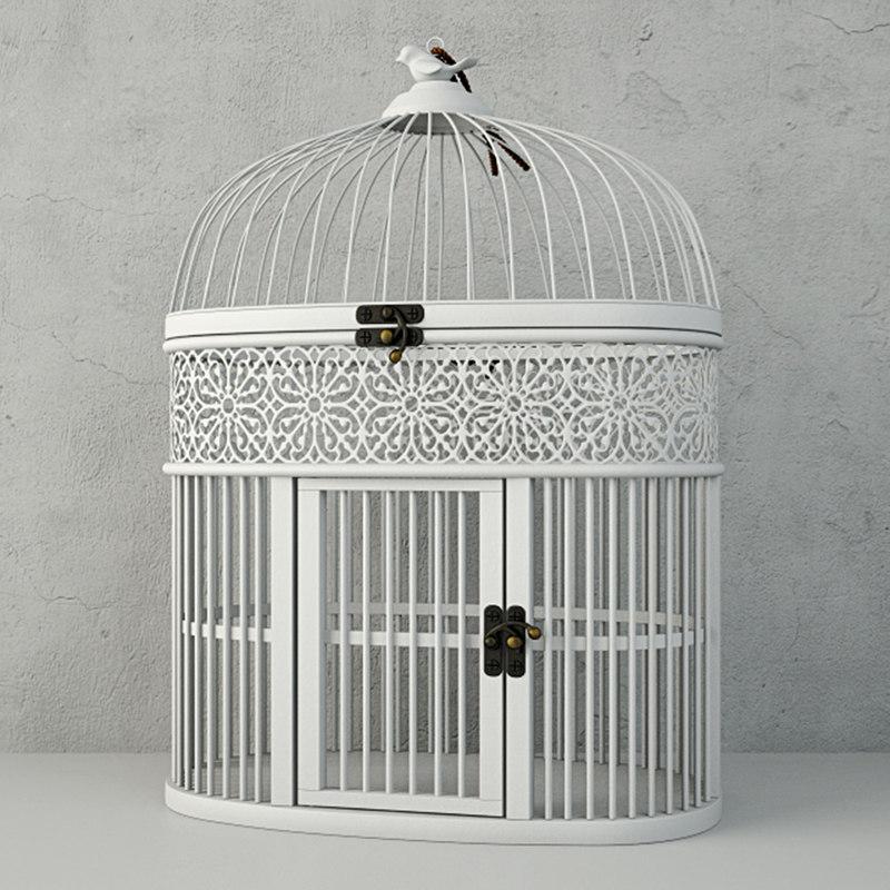 white metal bird cage 3D model