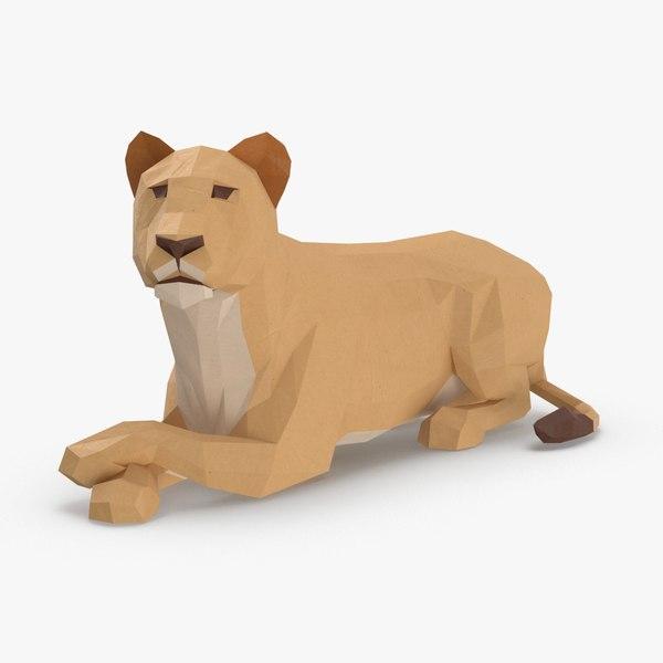 3D lioness----lying model