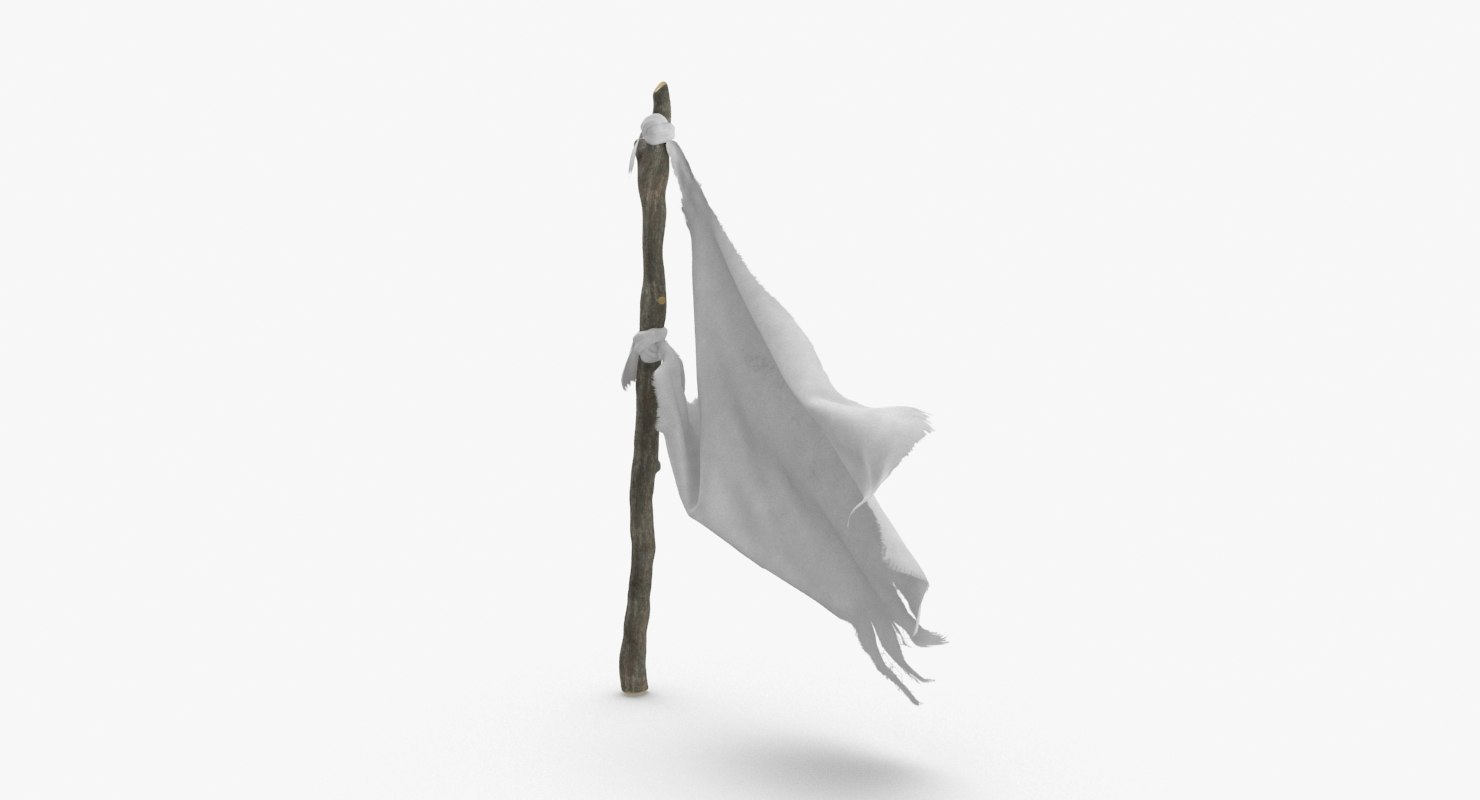 white-surrender-flag---03 3D model