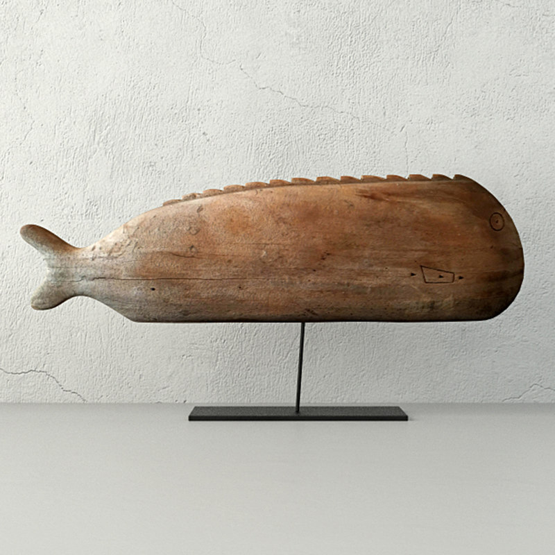 antique hand carved wooden 3D model