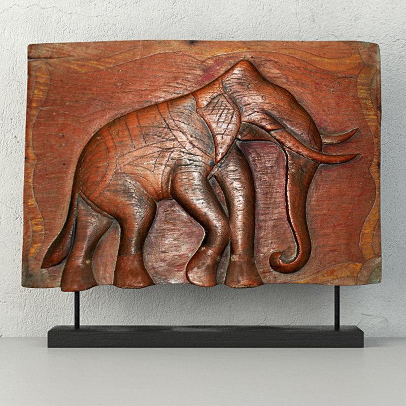 3D antique indian elephant relief model