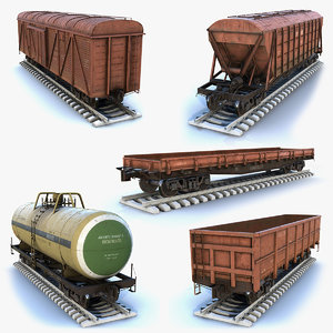 3D model set cargo cars