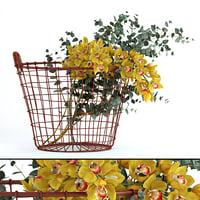 3D realistic plants basket flowers model