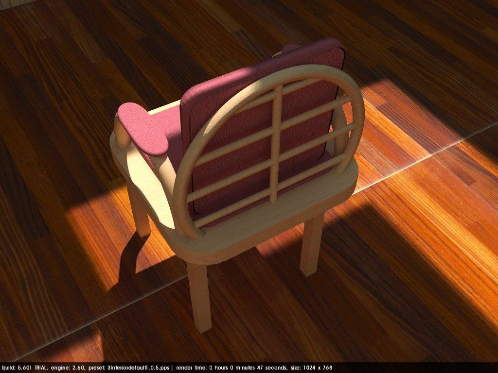 chair peach wood 3D