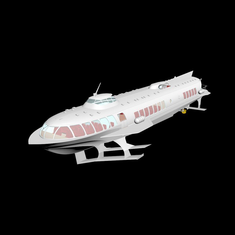 3D meteor large-sized passenger hydrofoil model