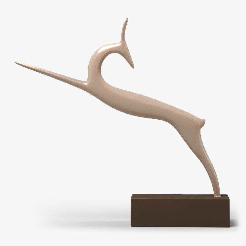 clay antelope figurine 3D model