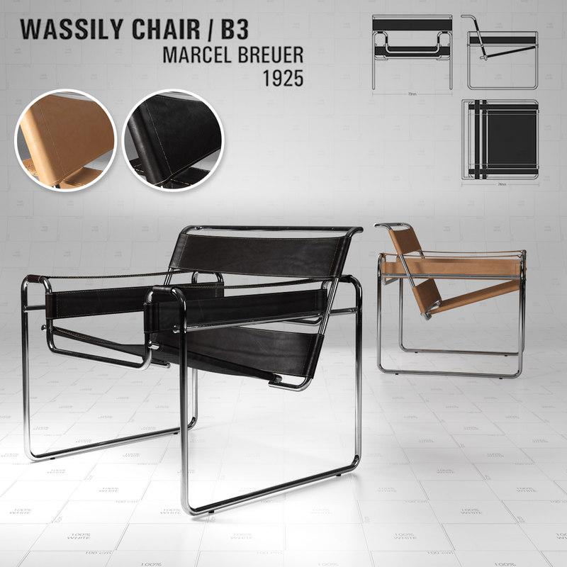 Wassily chair b3 marcel breuer 3D TurboSquid