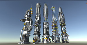3D scifi buildings modular animation model