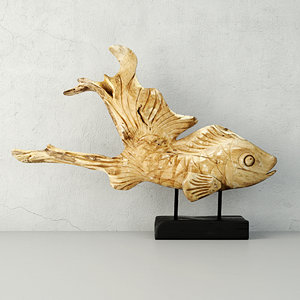 3D hand carved driftwood fish