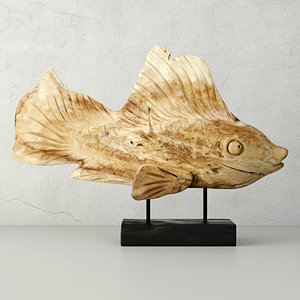 3D hand carved driftwood fish model