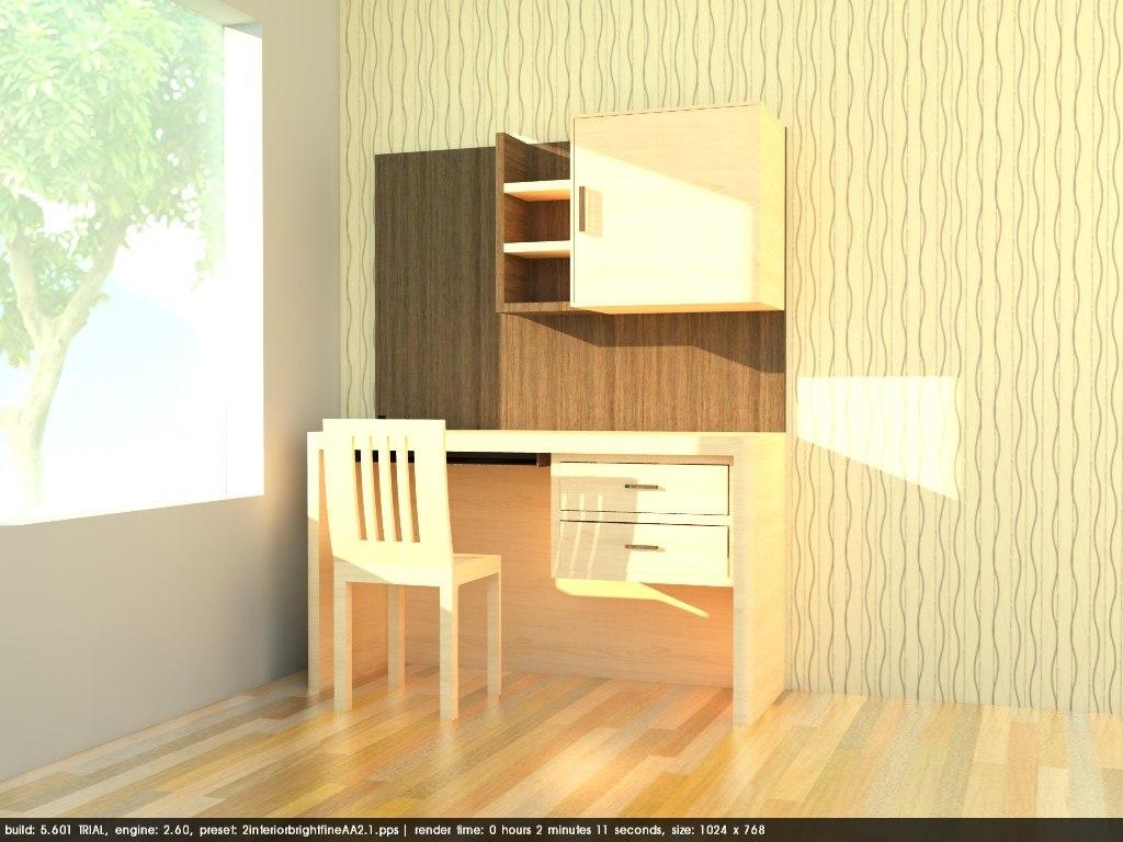 study area desk wood model