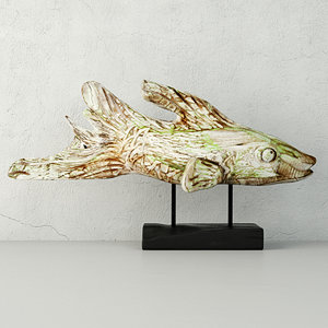 hand carved driftwood fish 3D