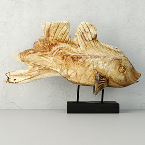 hand carved driftwood fish 3D model