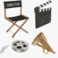 chair clapperboard movie 3D
