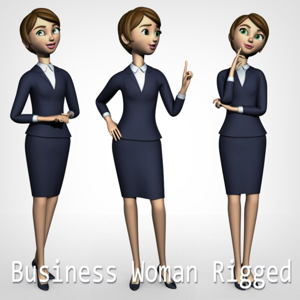 3D model animation business woman