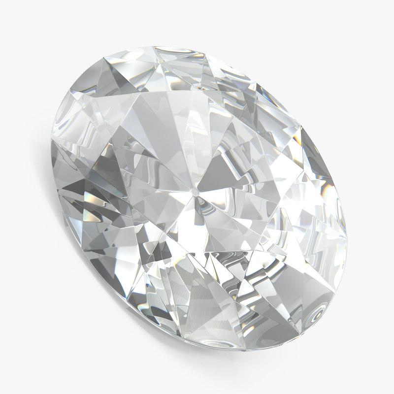 oval cut diamond 3D
