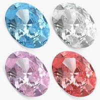 3D oval cut diamonds set