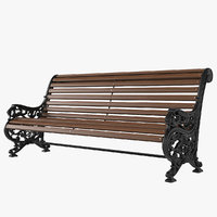 3D outdoor cast iron bench model