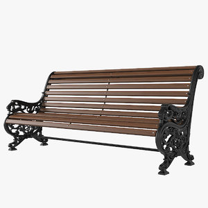 3D outdoor cast iron bench model