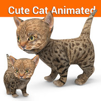 cute cat animation 3D model