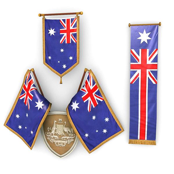australian flags pack 3D model