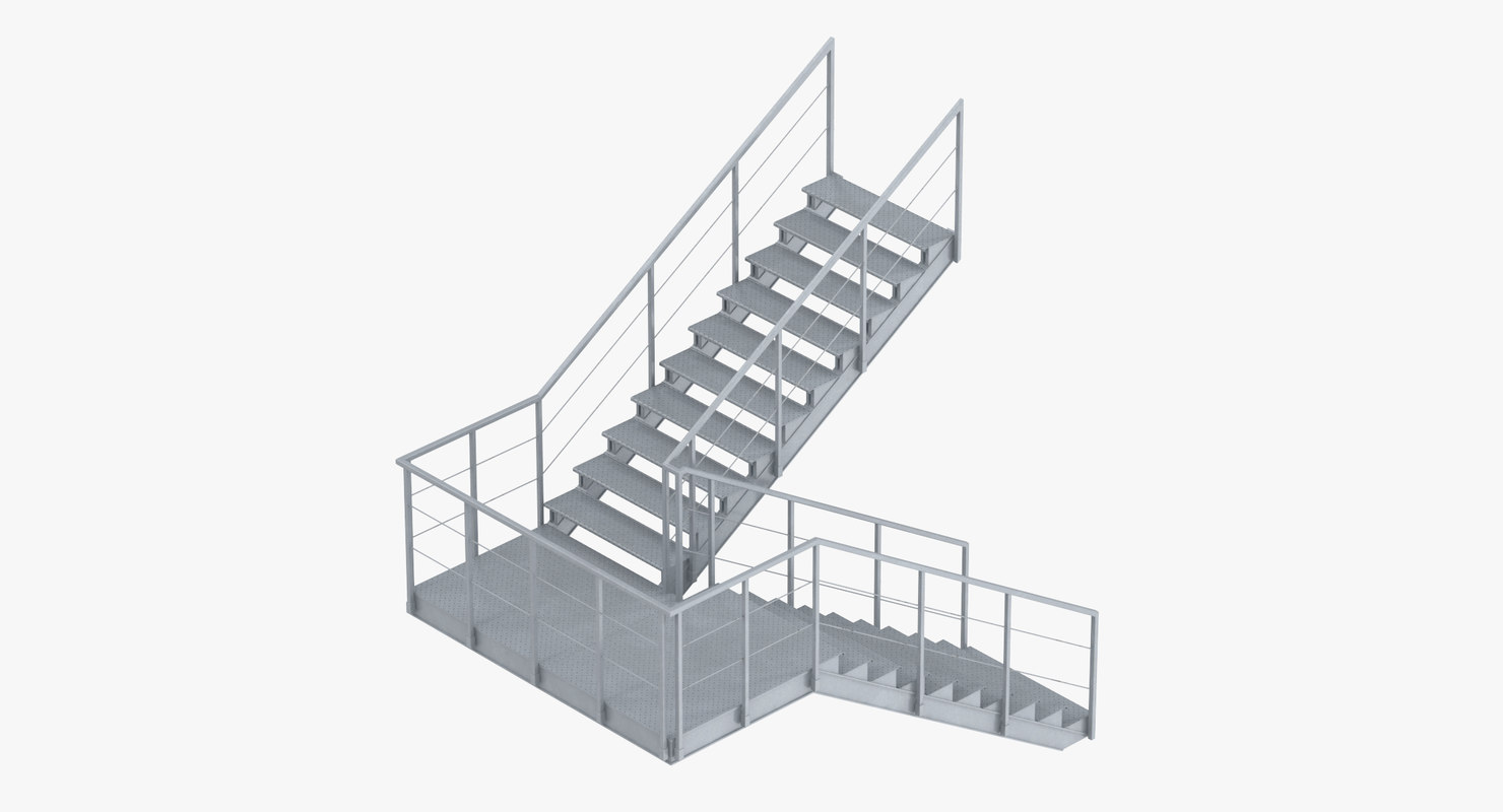 3D model industrial staircase landing style