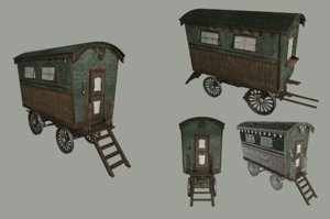 gypsy old wagon 3D