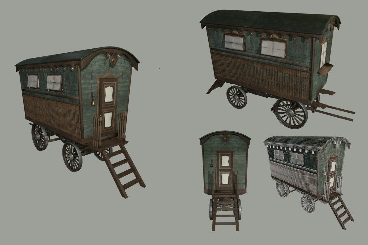 gypsy old wagon 3D